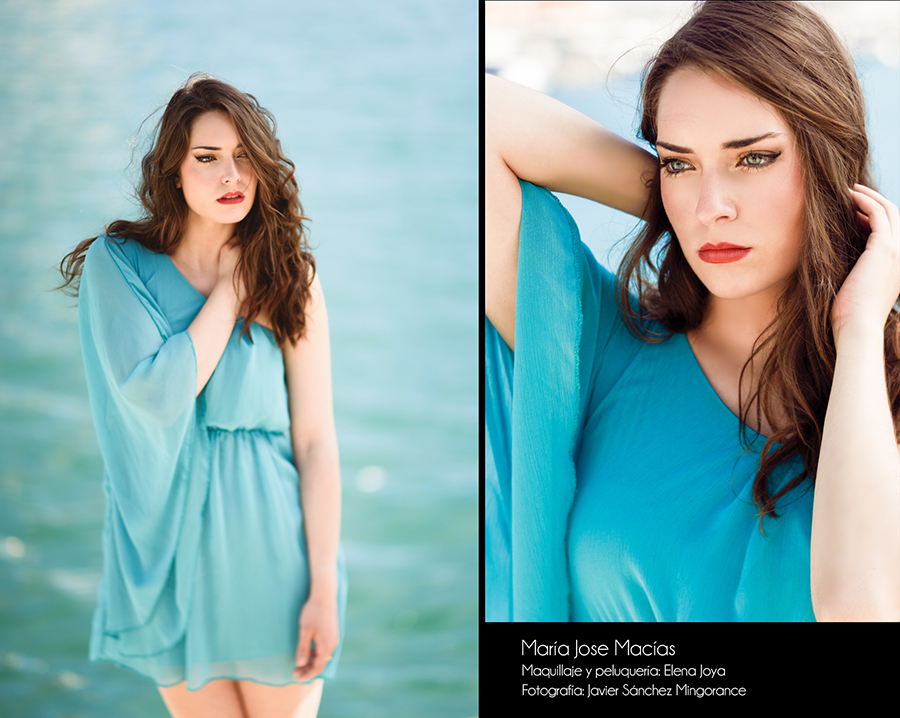 Beautiful young woman with blue eyes wearing blue dress in the beach.